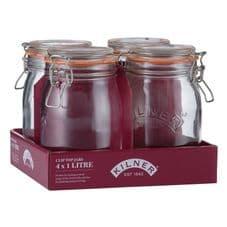 Kilner Clip Top Round Jar - 1L Tray Of 4